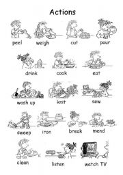English Worksheet: Set of actions js02