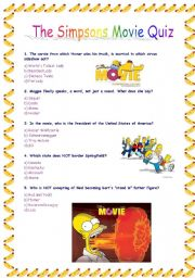 English Worksheet: The Simpsons Movie Quiz