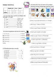 English Worksheet: weekly shedule