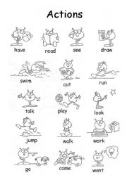 English Worksheets: Set of actions js01