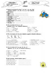 English Worksheet: subject pronouns and present to be verbs