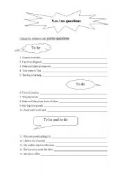 English Worksheet: Present Simple: Yes/No Questions