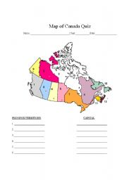 Worksheet Map Of Canada Quiz - Map of canada quiz printable