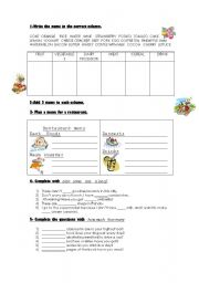 English Worksheets: countable uncountable food