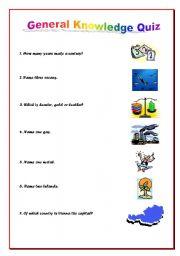 General knowledge Quiz - ESL worksheet by cintyamaria