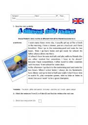 English Worksheets: A different daily routine