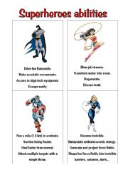 English Worksheet: superheroes 2