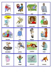 English Worksheet: Describing people - personality (Opposites Dominoes) P. 1