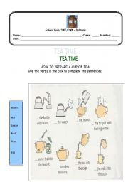 English Worksheet: How to prepare a cup of tea