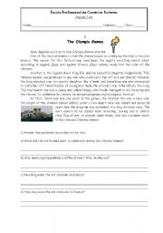 English Worksheet: Test about sports (the story behind the olympic games)