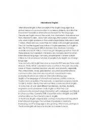 English Worksheets: International English