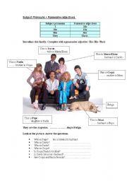 English Worksheet: Subject Pronouns + Possessive adjectives.