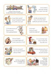 English Worksheets: Short Answer Cards - Set 1