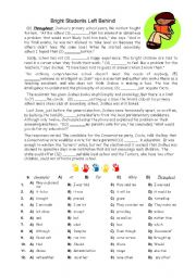 English Worksheet: Bright Students - Cloze Activity