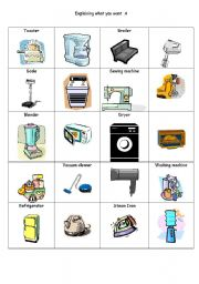 English Worksheet: Explain what you want with kitchen gadgets Part 1