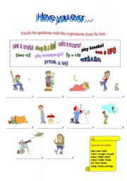 English Worksheet: Experiences: Have you ever...?