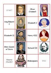 English Worksheet: England domino cards part I I (famous people)
