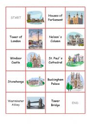 English Worksheet: England domino cards part III (famous sights)