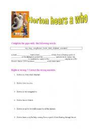 English Worksheets: HORTON ANIMATED MOVIE