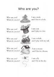 English Worksheets: jspoem02 who are you?