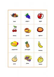 English worksheets: Picture Dictionary - Fruit 1