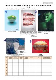 English Worksheet: ANALYSIS OF ADVERTS – Worksheet # 1