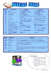 English Worksheets: Marking Codes