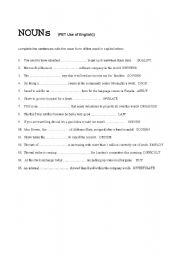 English Worksheet: NOUNS for PET exam practice