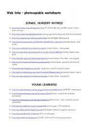 English Worksheets: Web links for teachers (photocopiable worksheets) - 5 pages, all levels