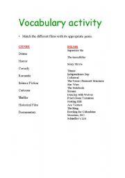 English Worksheet: Films-genre