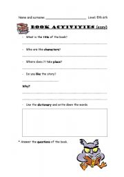 English Worksheets: Books activities
