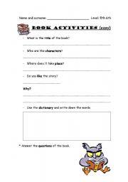 English Worksheets: Books activities