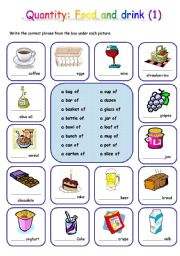 English Worksheet: Quantity: Food and drink (1)