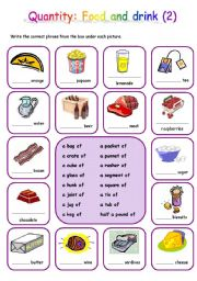English Worksheet: Quantity: Food and drink (2)