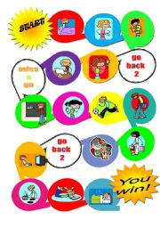 English Worksheets: action/ daily routine boardgame