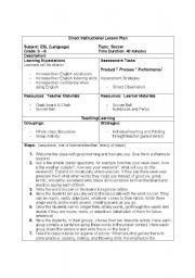 English Teaching Worksheets Soccer - Soccer lesson plan template