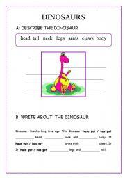 English Worksheets: DINOSUR (body parts, description), writing