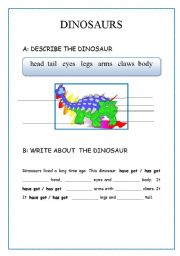 English Worksheets: DINOSUR II  (body parts, description), writing.