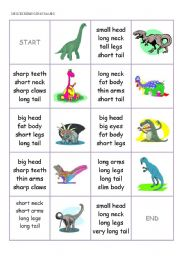 English Worksheets: DOMINO CARDS - body parts, describing dinosaurs