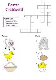 English Worksheet: Easter Crosswords