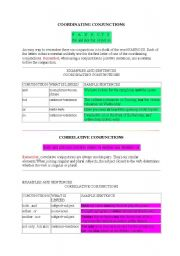 English Worksheets: coordinating conjunctions