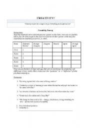 English Worksheets: Creativity Survey