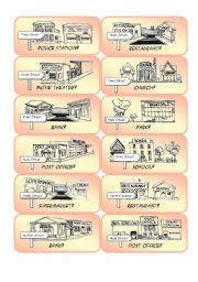 English Worksheets: Mini Town Cards - Set 2