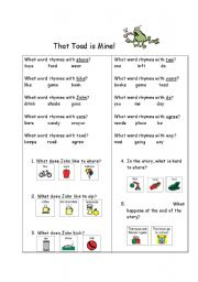 English Worksheets: That Toad is Mine!