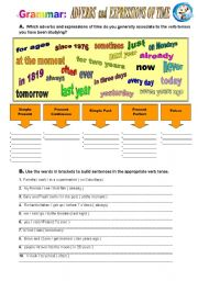 English Worksheet: Adverbs and Expressions of Time