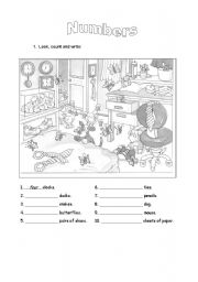 English Worksheet: Count and Write