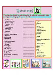 English Worksheets: Who�s  the boss? - Jobs and Professions