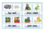 English Worksheet: COMPARISON CARDS - animals (part 1)