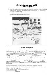 English Worksheet: Accident puzzle