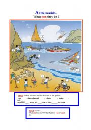 English Worksheet: What can they do ? At the seaside...